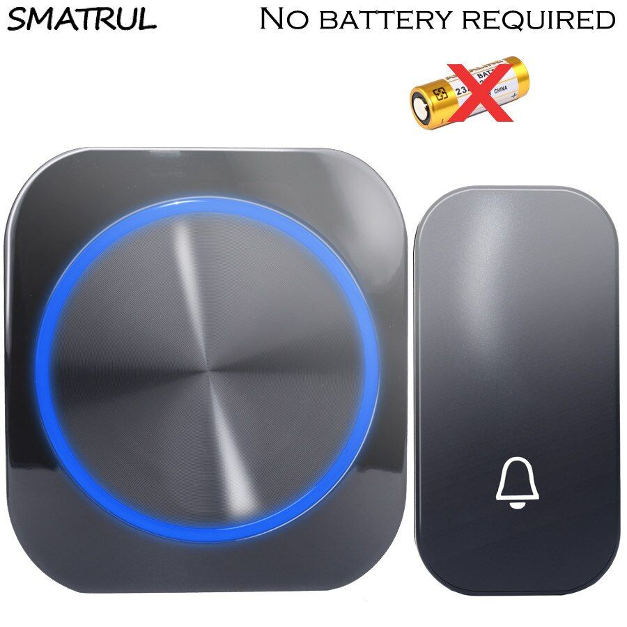 SMATRUL self powered Waterproof Wireless DoorBell night light no battery EU plug home Cordless Door Bell 1 2 button 1 2 Receiver