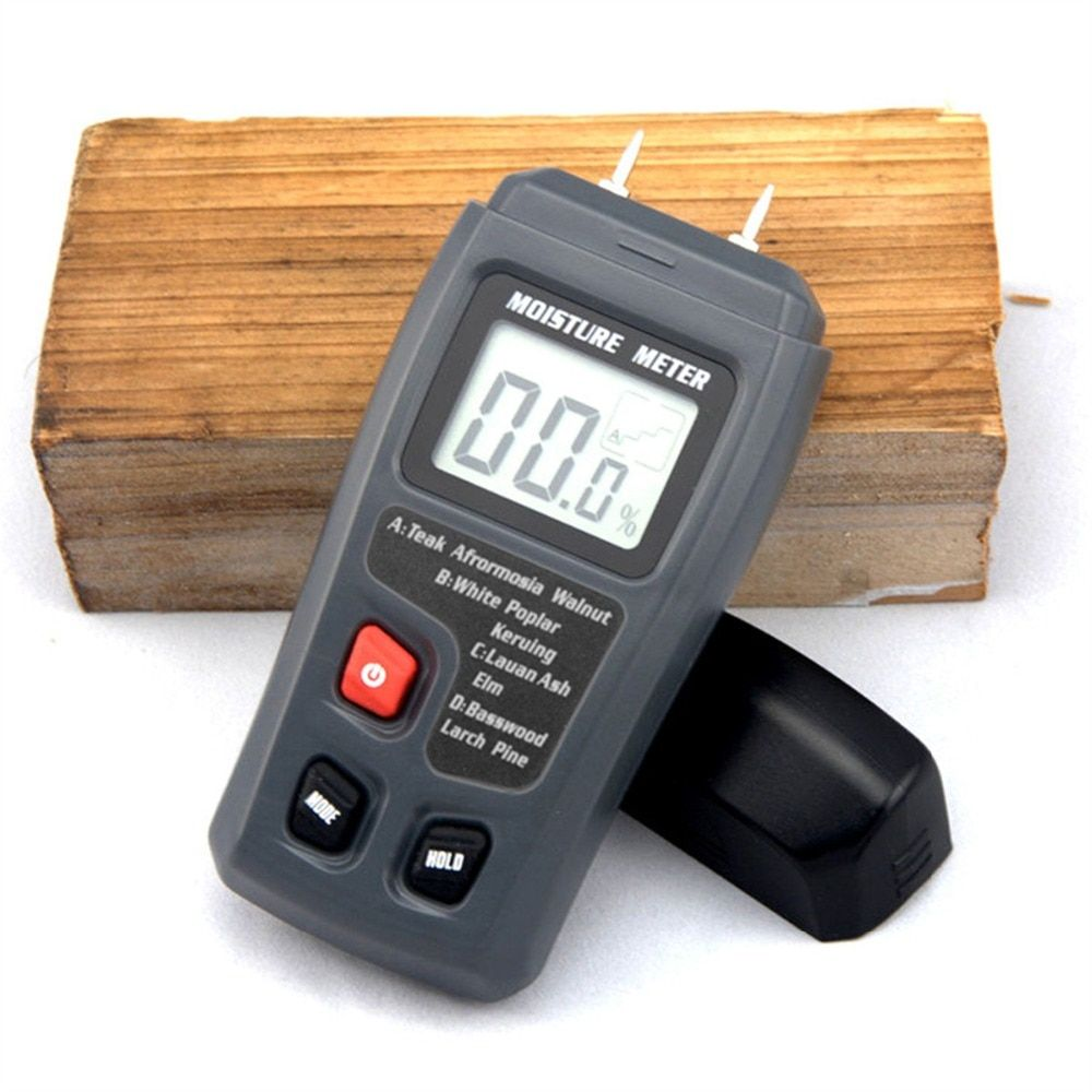 BSIDE EMT01 Two Pins Digital Wood Moisture Meter 0-99.9% Wood Humidity Tester Timber Damp Detector with Large LCD Display