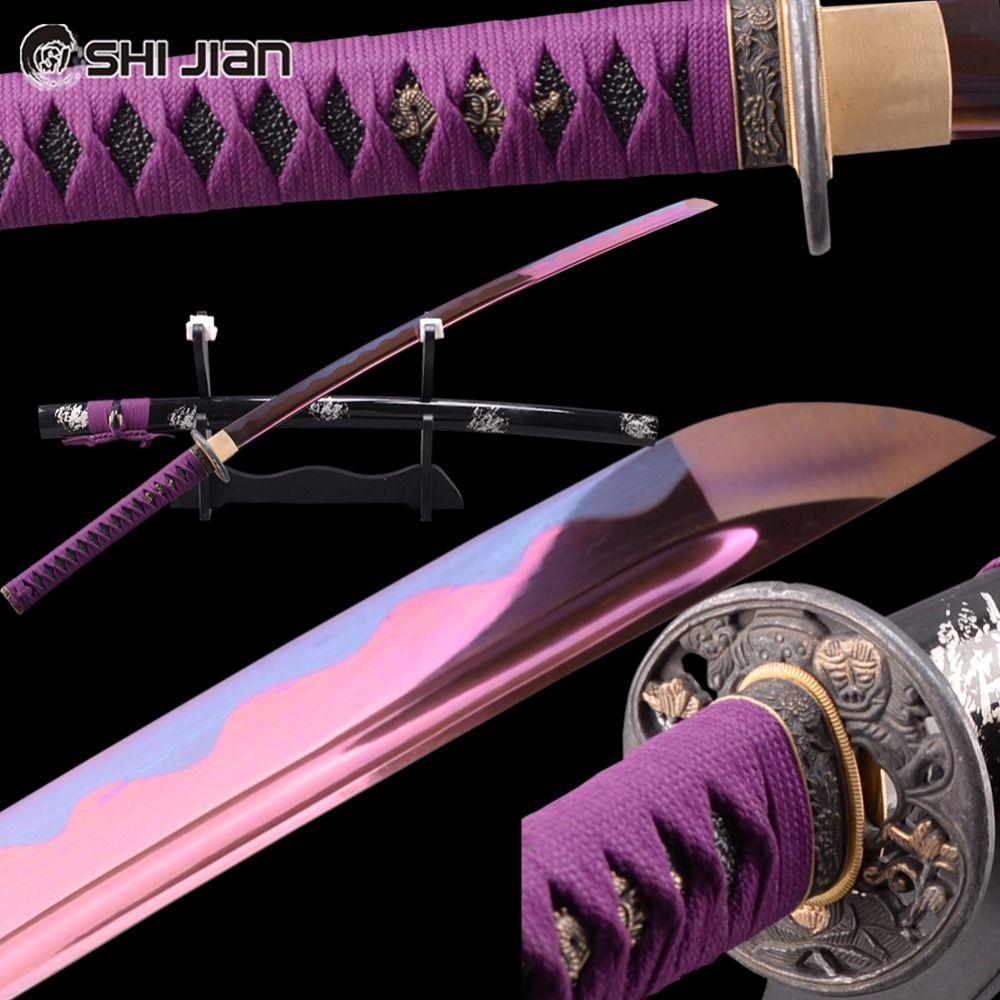 Shijian Schwerter Lila Japanische Samurai Katana Mangan-stahl Voller Angelklinge Scharf Battle Ready Echtes Katana Schneiden Praxis