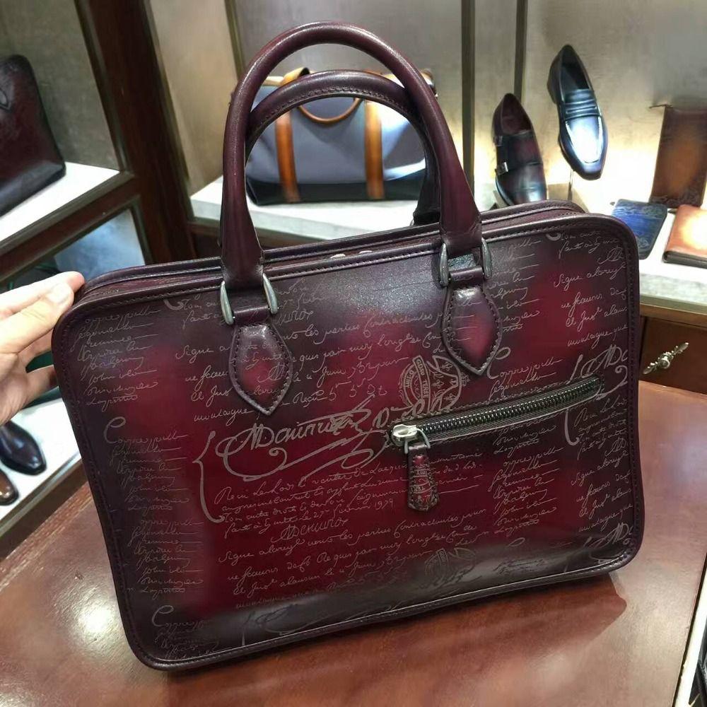 TERSE_Tote bag handmade leather mens business briefcase vintage style 4 colors handbag bespoke luxury in top genuine leather