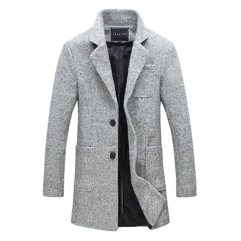 2018 neue Langen Graben Männer Winter Qualität 40% Wolle Windschutz Solide Grau Mode-stil Dicken Warmen Mantel M-5XL Parka Männer