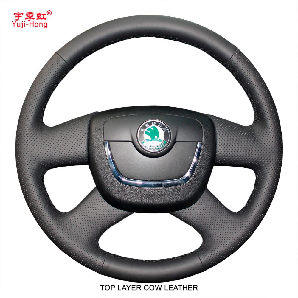 Yuji-Hong Car Steering Wheel Covers Case for SKODA Octavia Superb 2009-2012 Genuine Leather Hand-stitched Top Layer Cow Leather