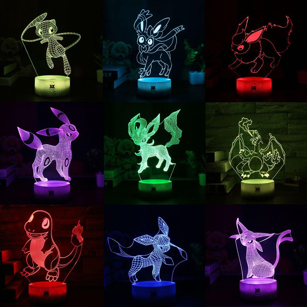 New Pokemon Umbreon/Sylveon/ Cartoon 3D Lamp LED Cool 7Color Night Light Children's Bedroom USB Decorative Table Lamp Gift HY168