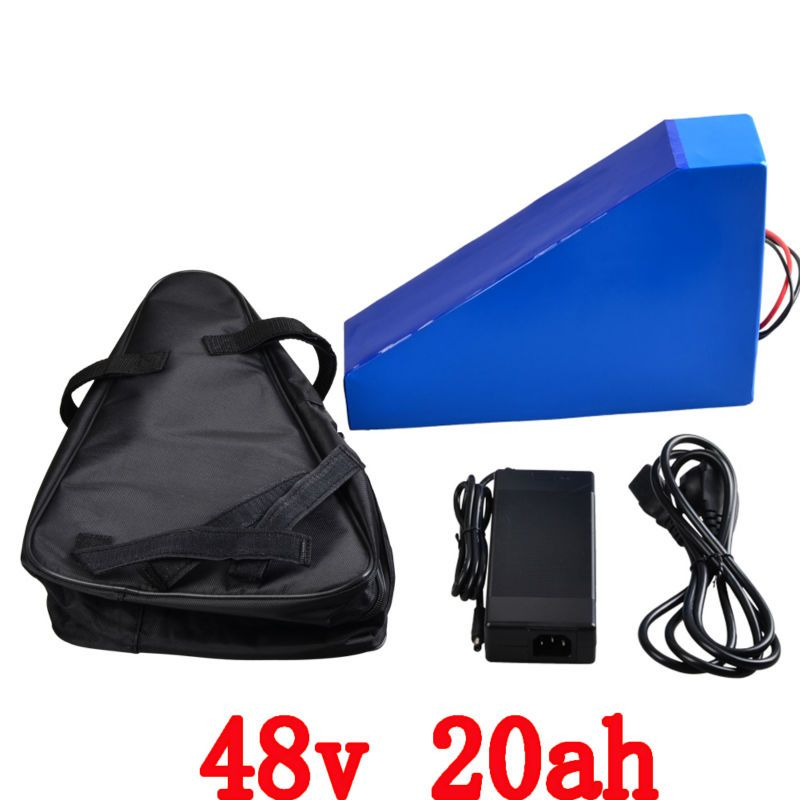 Free customs 1200W 48V 20AH triangle battery 48 V 20AH lithium battery pack use 3.7v 2500mah 18650 cell With free bag 30A BMS
