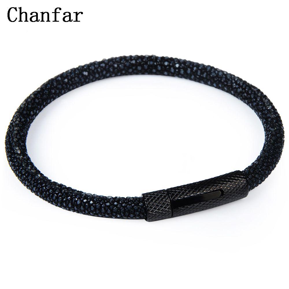 Chanfar 6mm Fashion Real Leather Stingray Bracelet Men Strap Stainless Steel Charm Bracelet Bangle Women Jewelry Wholesale