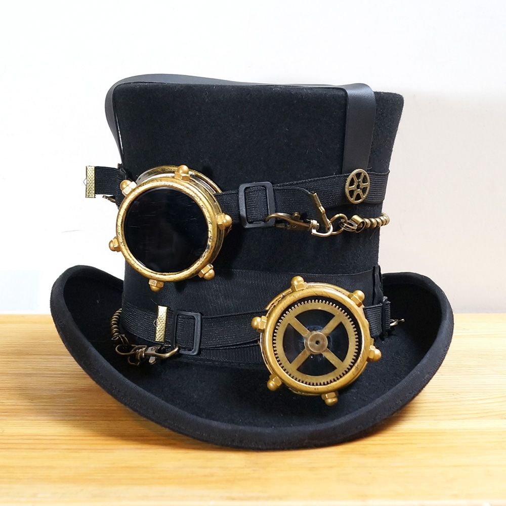 Steampunk Hat Steam Punk Vintage wool Gear fedoras hat millinery goggles hand made