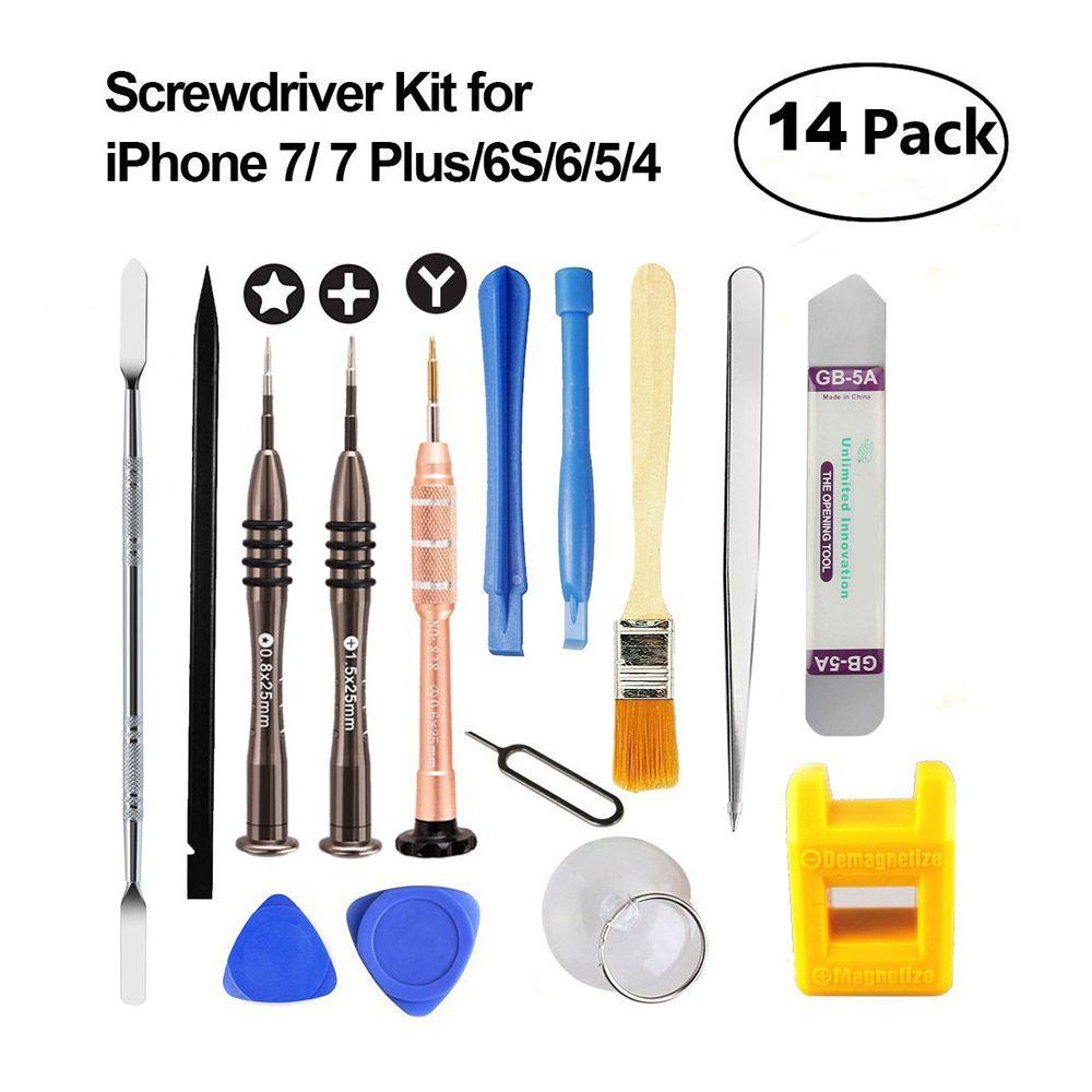 Professionnel 14in1 Mobile Téléphone Outils De Réparation Kit Levier D'ouverture Outil Tournevis ensemble pour iPhone7 6 S 6 5 Samsung Pad Phone Tools Set