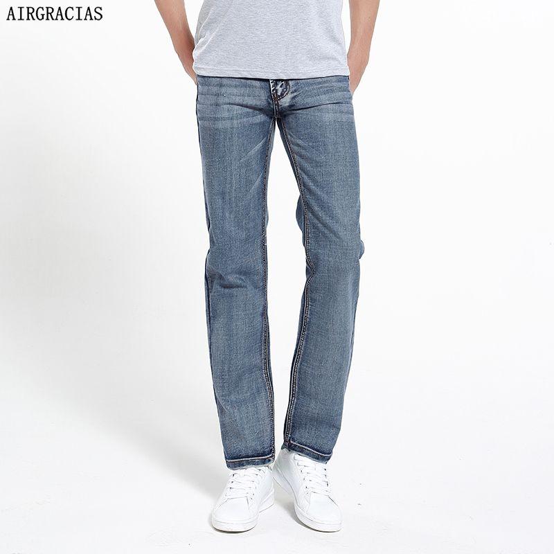 AIRGRACIAS marque Jeans rétro nostalgie droite Denim Jeans hommes grande taille 28-42 hommes pantalons longs pantalon classique Biker Jean