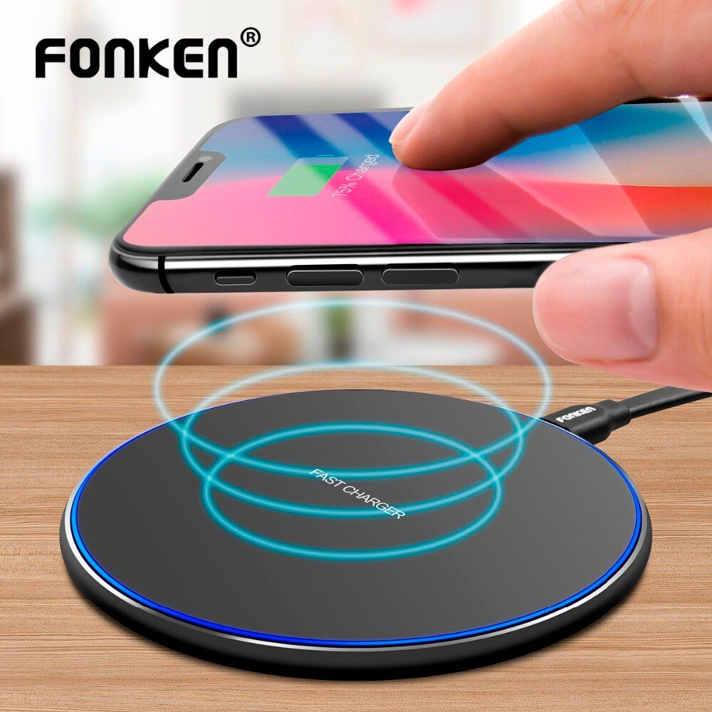 FONKEN S180 USB Wireless Charger Universal Qi 5W 7.5W 10W Fast Charge Base Ultra Thin Wireless charging Pad for Mobile Phone