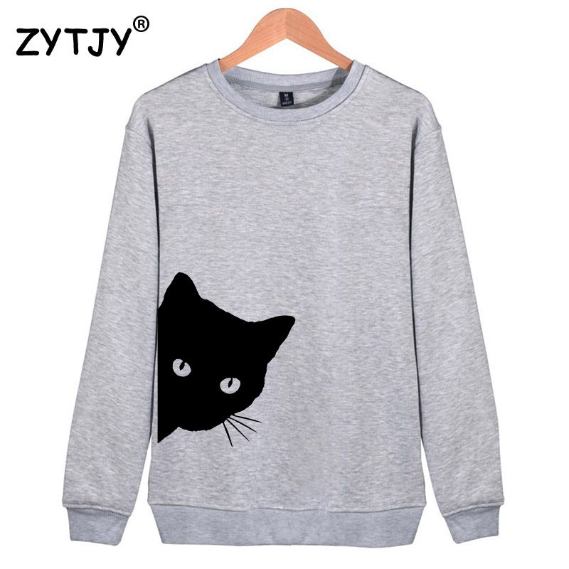 Cat Looking Out Side Print Women Sweatshirts Casual Hoodies For Lady Girl Funny Hipster Jumper Drop Ship SW-7