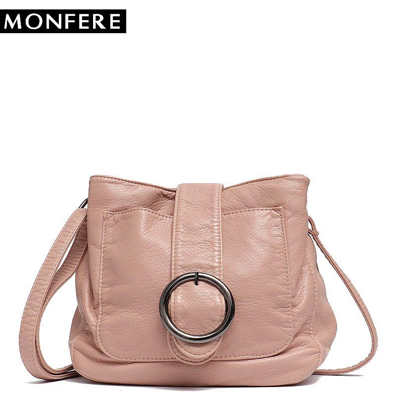 MONFERE Brand Candy Color Women Messenger Bag Wash Pu Leather Girls Soft Small Handbag High Quality Ladies Shoulder Bags&Purses