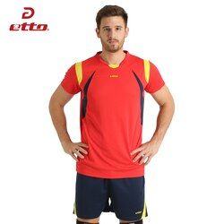 Etto Voli Baru Laki-laki Olahraga Bernapas Lengan Pendek T-shirt Dan Celana Pendek Setelan Profesional Voli bola Jerseys Seragam HXB006