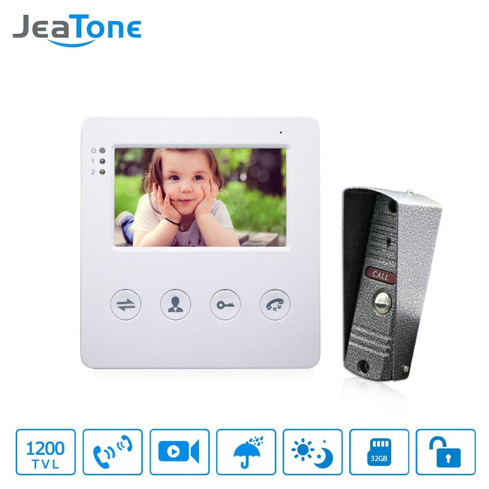 JeaTone 4 zoll Verdrahtete Video Tür Telefon Türklingel Intercom System Kit 1 Kamera Mit 1 Monitor IR Nacht Vision Zugang control