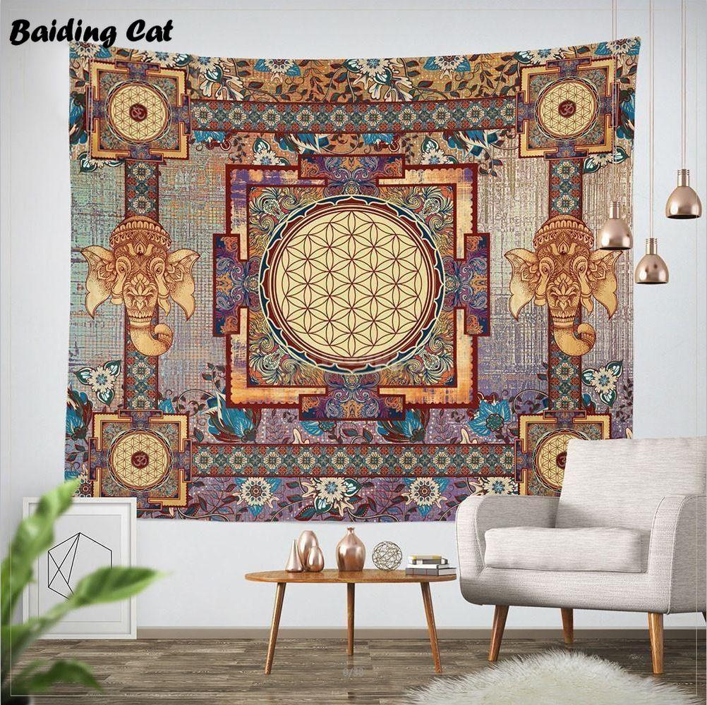 Indien Mandala tapisserie 203x153 cm coton belgique Hippie tenture murale éléphant tapisseries Boho couvre-lit serviettes de plage nappe