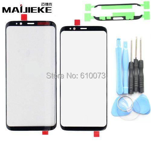 Genuine Front Outer Bildschirm Glaslinse Schwarz Ersatz Für Samsung Galaxy S8 & S8 Plus Frontscheibe LCD Glaslinse + kleber + Werkzeuge