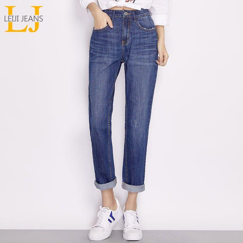 Leijijeans 2018 Новое поступление Весенние модели классический Boyfriend Стиль середины талии свободные джинсы синие повседневные джинсы женские бол...