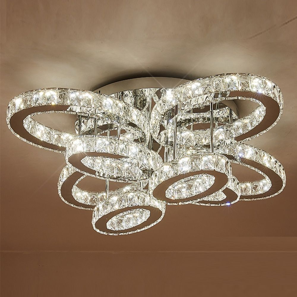 modern design large crystal chandelier LED light AC110V 220v lustre LED ceiling fixture foyer lights