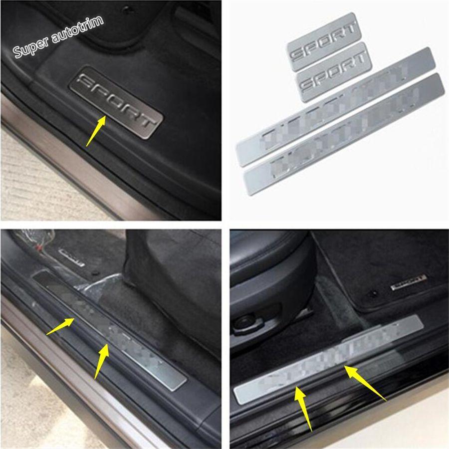 Lapetus Accessoires plaque de protection Seuil de Porte garde Bienvenue Pédale 4 pièces Pour Land Rover Discovery Sport 2015-2018 acier inoxydable