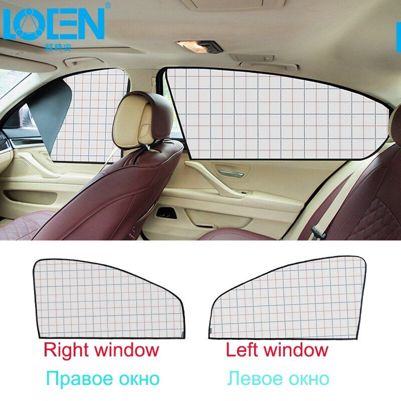 1 Set Auto Sunsahde Car Front/Rear Side Window Cover Right/Left Magnetic Sun Shade Curtain Easy Installation Silver Beige Plaid