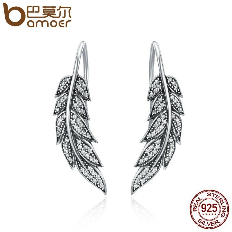 BAMOER Authentic 925 Sterling Silver Vintage Feather Wings Long Drop Earrings for Women Sterling Silver Jewelry Brincos SCE215