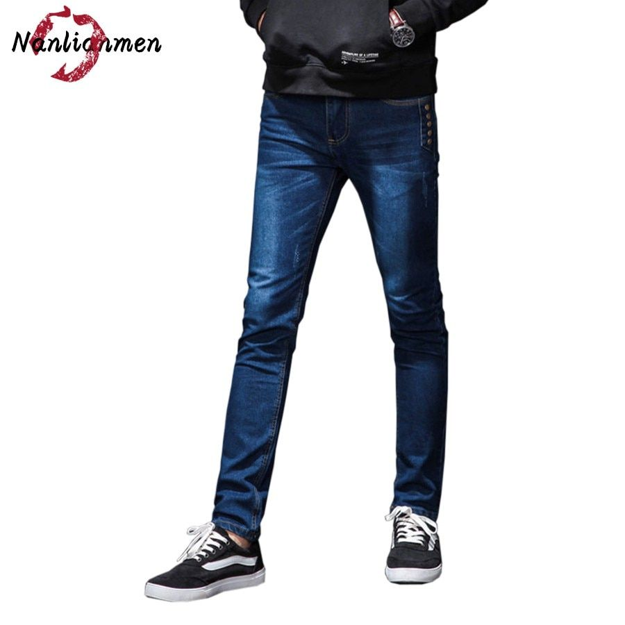 2017 Real Zipper Fly Midweight Mid Autumn New Jeans Mens Boyfriend Stylish Straight Slim Fit Denim Homme Zipper Fly Male Pants