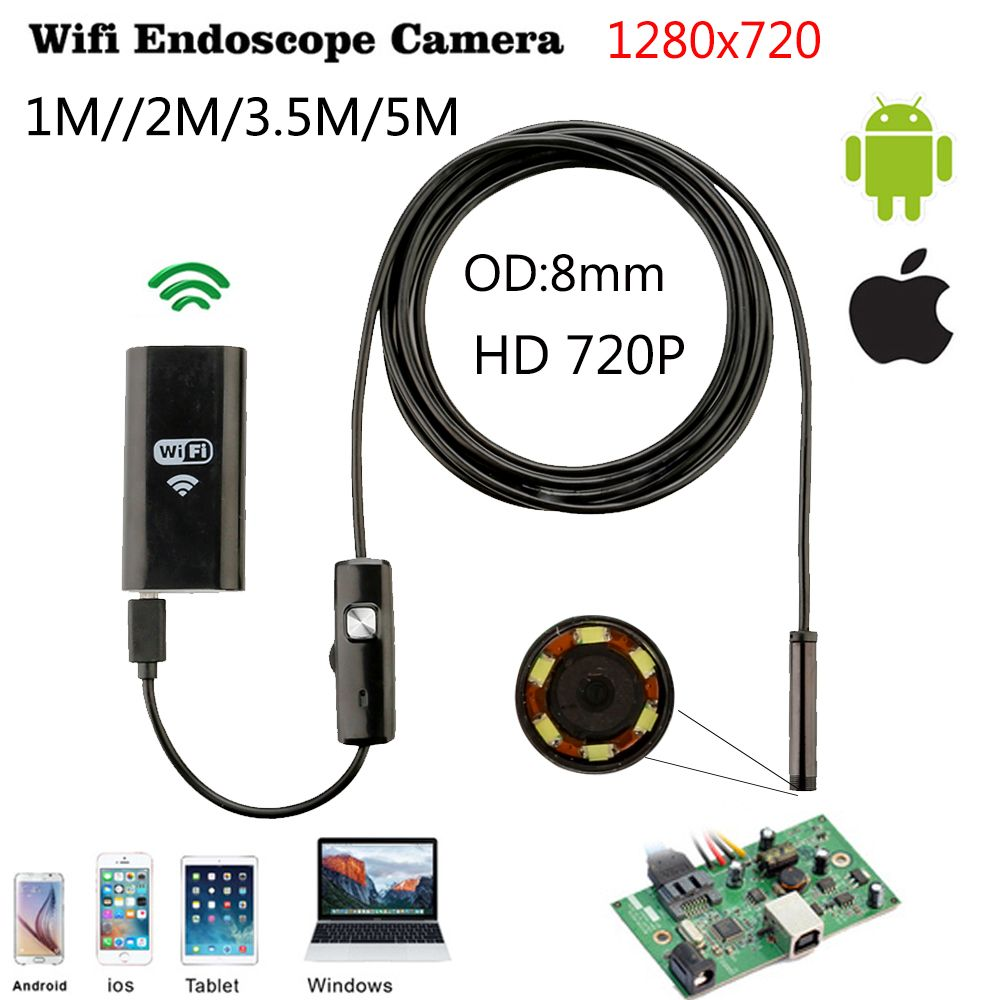 8mm 1 m 2 m 3.5 m Wifi IOS Endoscope Caméra Endoscope IP67 Étanche D'inspection Pour Iphone Endoscope Android PC HD IP Caméra