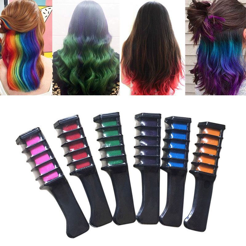 6 Pcs/Set Temporary Hair Chalk Color Comb Dye Kits Disposable Cosplay Party Hairs Dyeing Tool Crayons For Home Salon HS1