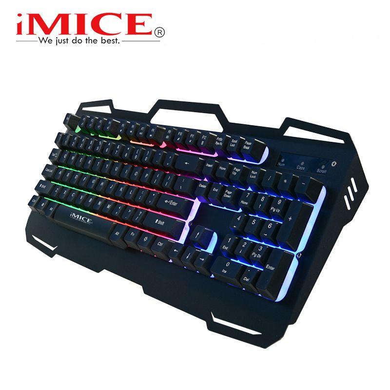 Wired Gaming Keyboard 104 Keys Backlit Keyboards RBG Metal Ergonomic Keyboard Gamer Russian Stickers keycaps For PC Computer