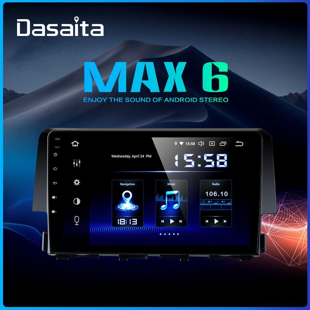Dasaita 9 HDMI Auto 1 Din Radio Android 9.0 für Honda Civic 2015 2016 Navigation GPS Stereo MAX6 DSP 64GB ROM