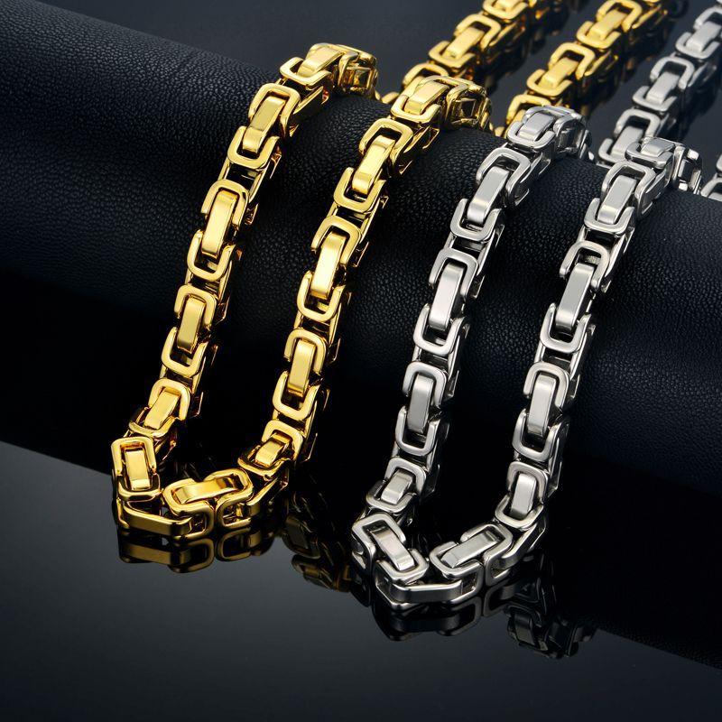 Hommes épais argent chaînes énorme mâle byzantin lien chaîne collier 8 MM acier inoxydable couleur or lié chaîne pour hommes bijoux