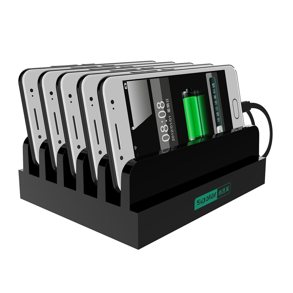 Black charging station with 6 smart charging port for any cellphone