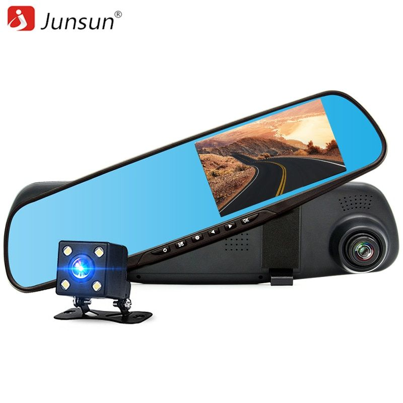Junsun Car DVR dual camera Full HD 1080P Video Recorder Rearview Mirror With Rear view Automobile DVR Mirror Dash cam car dvrs