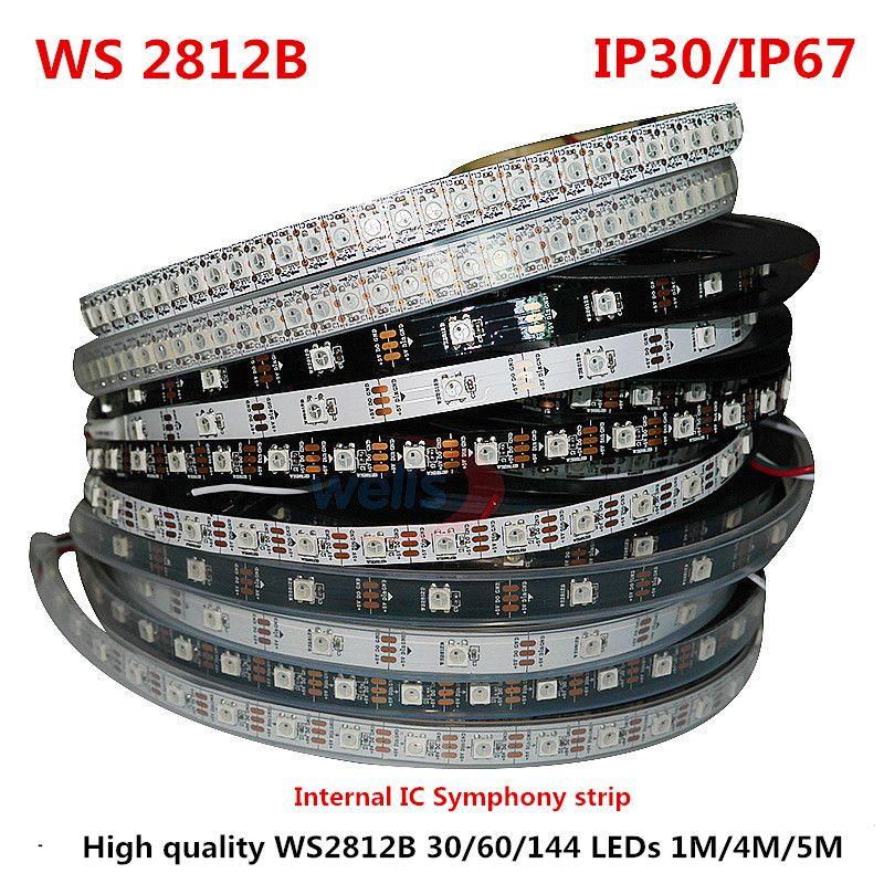 1/4/5 м WS2812B полный Цвет симфония 30 60 144 пикселей/метр SMD 5050 встроенных IC программируемые адресуемых 5 В полосы света