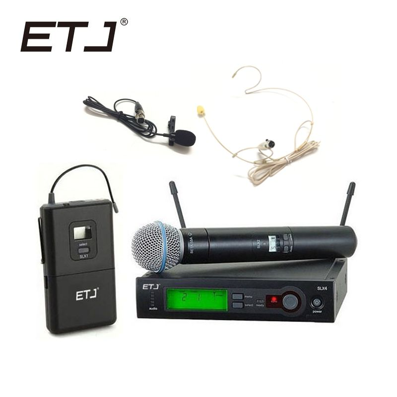 ETJ Marque SLX24/BETA58 58A Système Professionnel Sans Fil UHF Double Microphone De Poche Casque Microphone