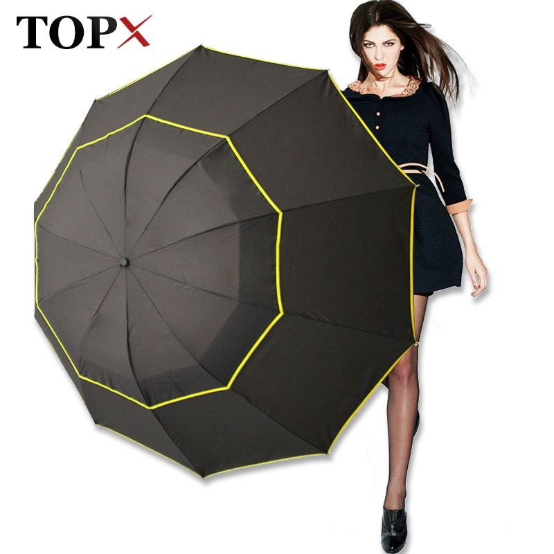 130 cm Grand Parapluie De Qualité Supérieure Hommes Pluie Femme Coupe-Vent Grand Parapluie Mâle Femmes Soleil 3 Floding Grand Parapluie En Plein Air Parapluie