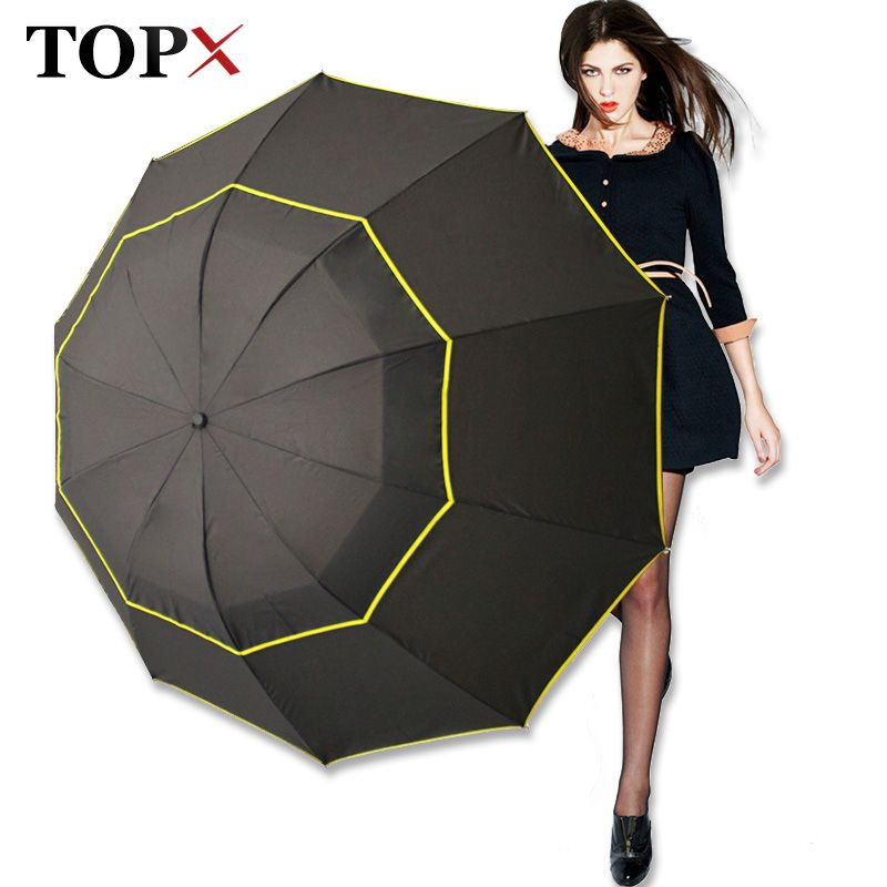130cm Big Top Quality Umbrella Men Rain Woman <font><b>Windproof</b></font> Large Paraguas Male Women Sun 3 Floding Big Umbrella Outdoor Parapluie