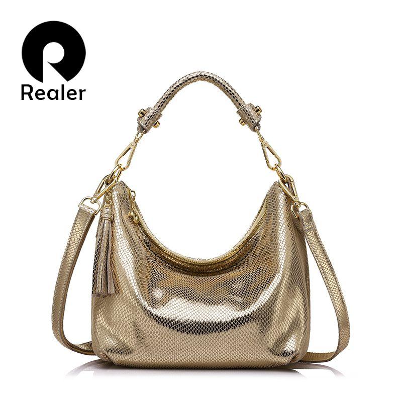 REALER women genuine leather shoulder bag serpentine pattern small handbag casual tote bag lady crossbody bag Gold/Silver