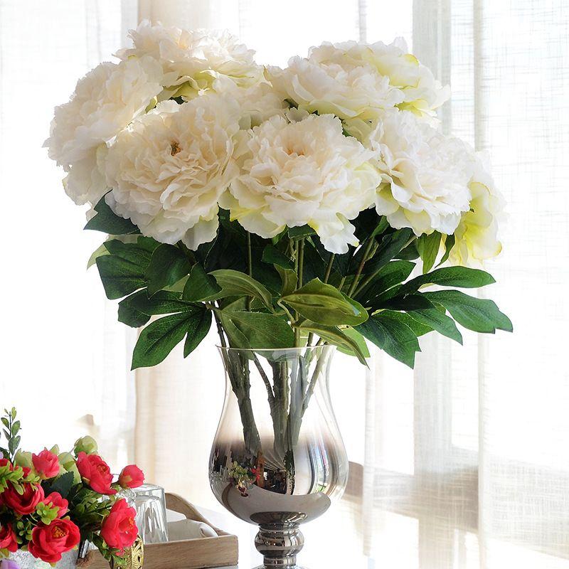 JAROWN 5 têtes soie artificielle fleur pivoine bouquet fleur bouquet pour table de mariage accessoire décoration de la maison