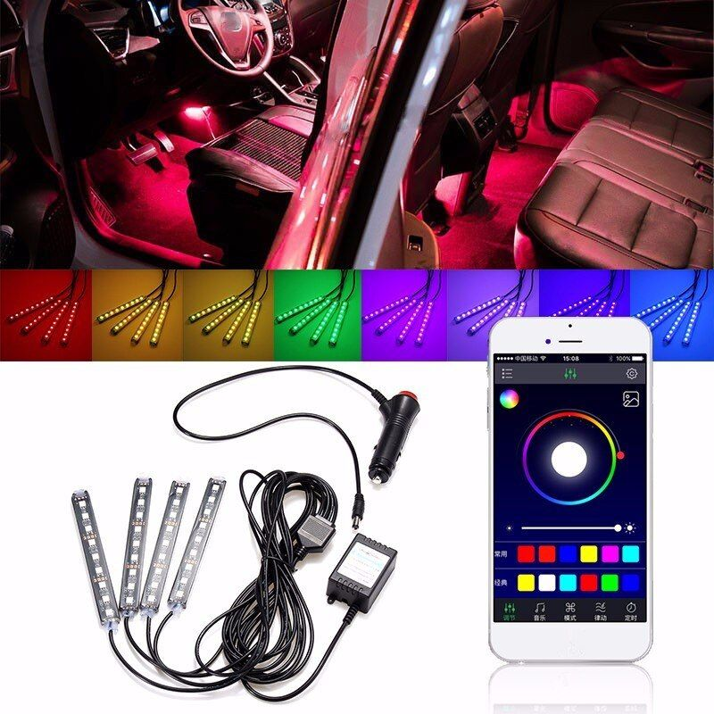 1Set 9LED RGB Car Interior Decorative Floor Atmosphere Lamp Light <font><b>Strip</b></font> Smart Intelligent Wireless Phone APP Control Car Styling
