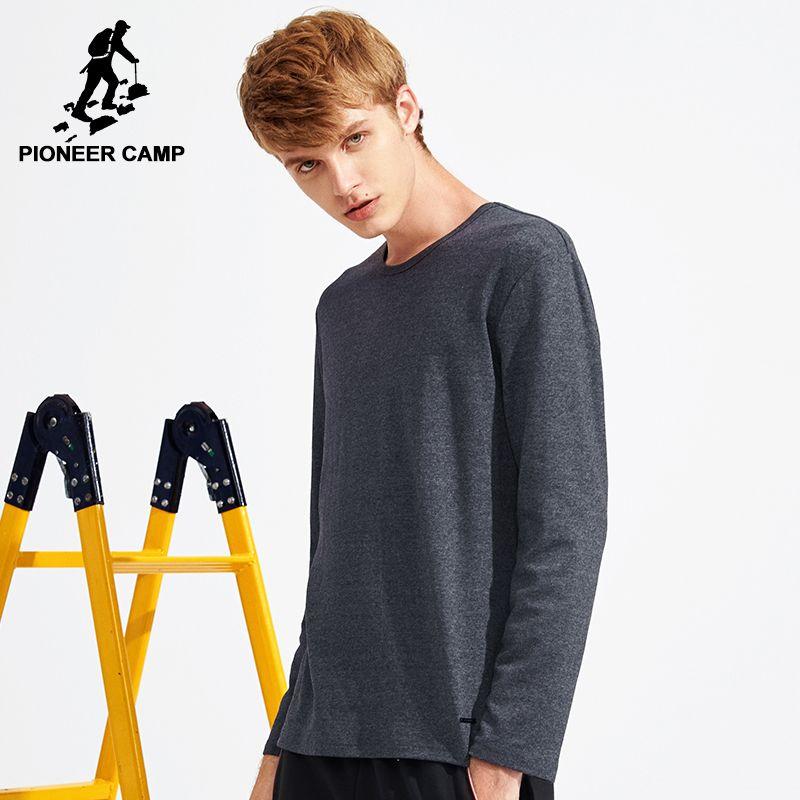 Пионерский лагерь Весенняя футболка с длинными рукавами Для мужчин брендовая одежда качество Slim Fit Для мужчин Повседневное Длинные футболк...