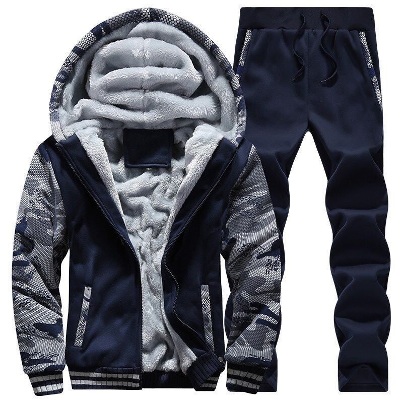 Men Jacket+Pants Tracksuit 2018 Winter Jacket Thick Inner Fleece wool liner Hoodie mma Active Coat Male Zipper sweatshirt M-4XL