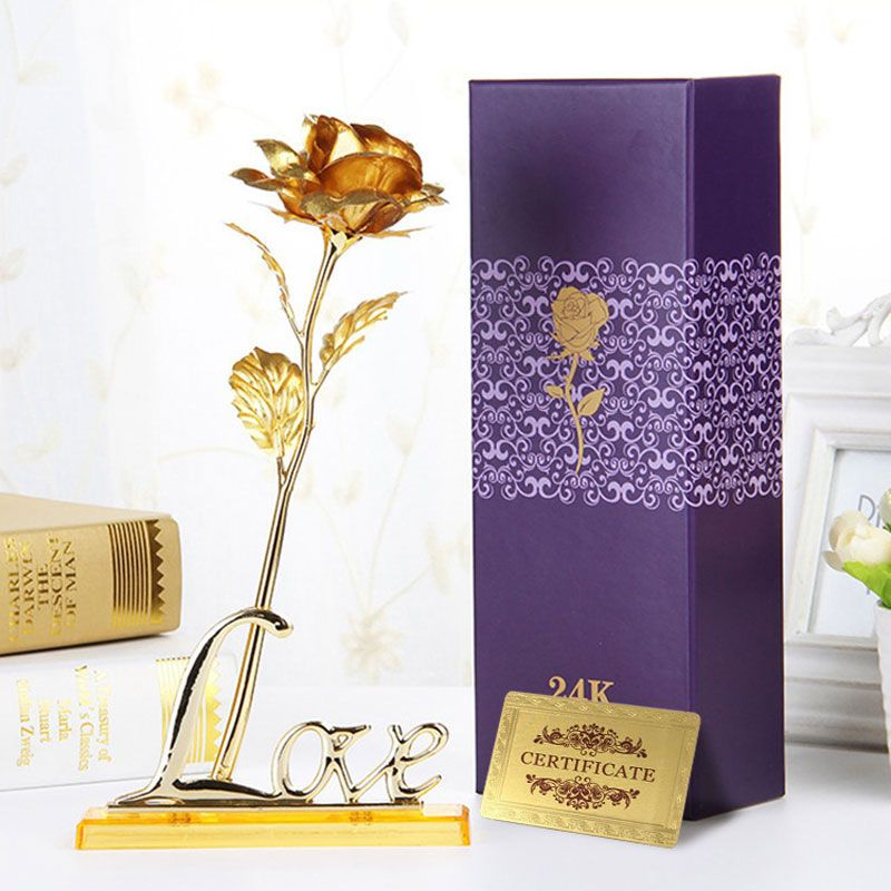 Vente chaude D'anniversaire De Mariage 24 k D'or Faux fleurs Plantes Pour Décoratifs pour La Maison Fleurs Artificielles Fournitures Jour de Valentine