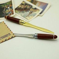 Rétro Manche En Bois Lettre Ouvre En Acier Inoxydable Lettre D'ouverture Or Argent Couleur Briefopener usage de bureau d'affaires cadeaux couteau