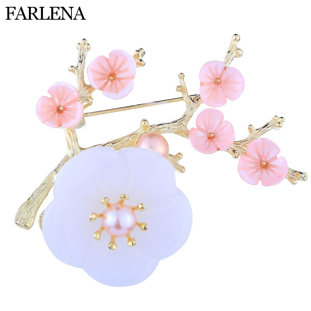 FARLENA Jewelry Exclusive Design Beautiful Shell Plum Brooch Pins for Women Vintage Natural Stone Brooches