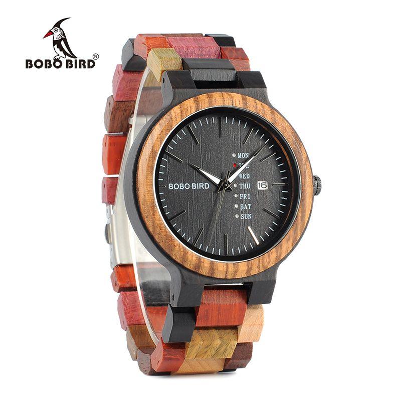 BOBO BIRD Week Display & Auto Date Face Wood Watch Men Quartz Wristwatch Accept Logo Customize relogio masculino B-P14-1