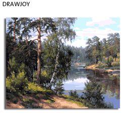 DRAWJOY пейзаж в рамке живопись по номерам Настенный декор ручной работы Холст Картина маслом домашний декор для гостиной GX7799 40*50 см