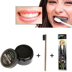 Sispop Teeth Whitening Bamboo Charcoal Toothpaste Strong Formula Whitening Charcoal Powder Toothbrush Oral Hygiene Cleaning