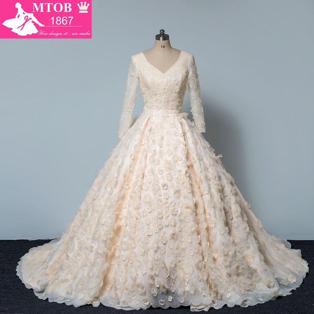 Luxury Shiny Crystals Beads Wedding Dress 3D Handmade Flower V Neck Long Sleeves Ball Gown robe de mariage MTOB1606