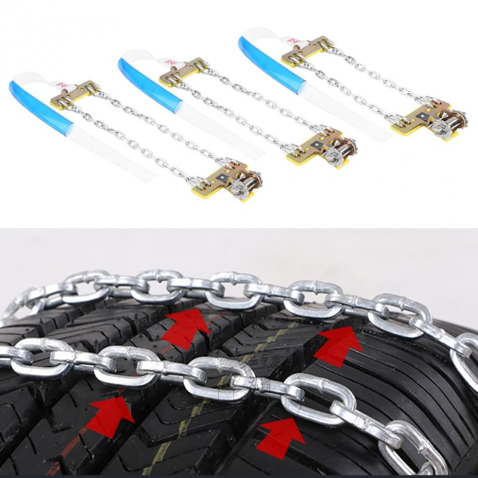 3pcs Tire Anti-skid Steel Chain Snow Mud Car Security Tyre Clip-on Chain for Car Car Truck SUV Universal Tire Accessories New