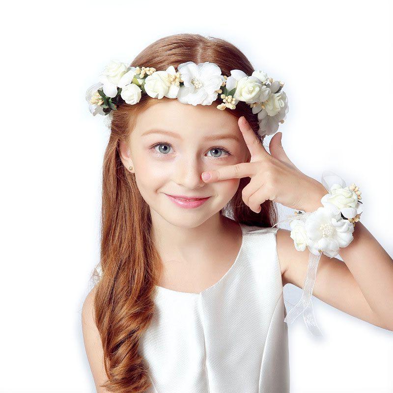 Couronne fille tête fleur couronne mariée cheveux accessoires artificielle fleur tête couronne pour cheveux mariage guirlande casque